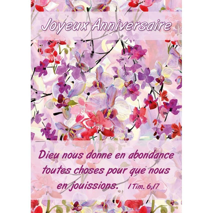 Carte Avec Verset Fleurs Mauve Ja