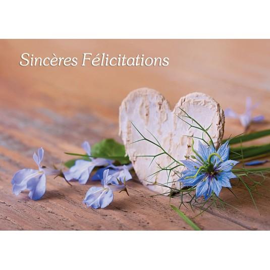 Carte avec message coeur et fleurs bleues for Livraison fleurs avec message