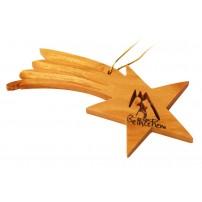 Suspension crèche ds étoile en bois d'olivier 9.5cm