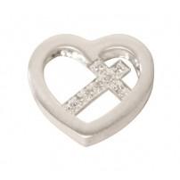 Médaillon croix dans coeur argent 2x1.5cm
