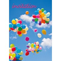 MINI CARTE : Envol de ballons multicolore( Invitation)