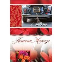 CARNET HM : Arrière de voiture noire, fleurs orange