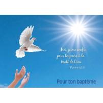CARTE VB : Mains lachant une colombe (Baptême)