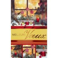 MIGNONETTE MV : Lanterne et bougies rouge devant fenêtre