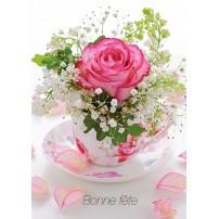 CARTE FLASH : Rose ds tasse (Bonne fête)