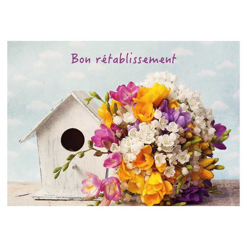 Fabuleux Carte Avec Message Bouquet, nichoir (Bon rétablissement) NE66