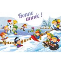 CARTE Flash FA  : Enfants jouant ds la neige (BA)