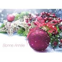 CARTE FA: Branche de sapin, boules (BA)