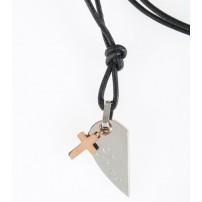 Pendentif Croix, demi-cœur acier inoxydable, collier cuir 47cm
