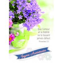 CARTE VB : Fleurs violettes dans un seau en métal