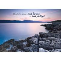 Carte VB : Rochers au bord d'un lac au coucher du soleil