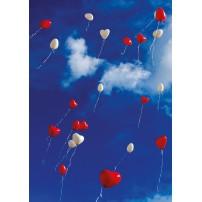 CARTE ST : Ballons en forme de cœur,dans le ciel