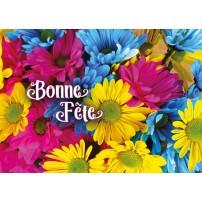MINICARTE : Fleurs roses, bleues et jaunes