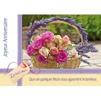 CARNET HA : Bouquet de roses et lavande dans un panier
