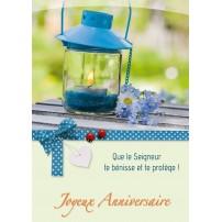 CARNET HA : Lanterne et fleurs bleues