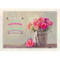 CARTE PENSEE : Bouquet de roses dans un pot