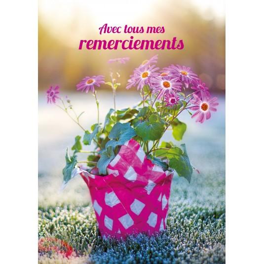 Carte Avec Message Bouquet de fleurs dans pot sur l'herbe givrée