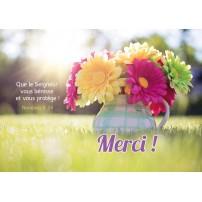 CARTE VB : Bouquet dans un pot posé sur l'herbe