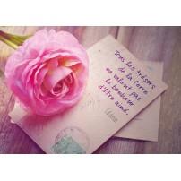 CARTE PENSEE : Peinture d'une rose posée sur une carte postale