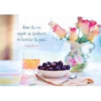 CARTE VB : Bouquet de roses et bol de fruits