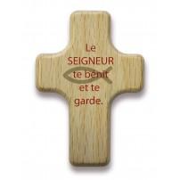 """Mini-croix bois """"Le Seigneur te bénit et te garde."""""""