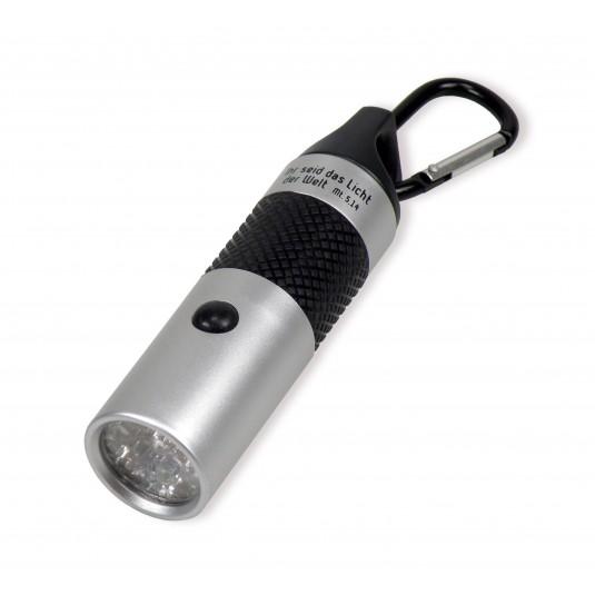 Lampe de poche LED porte-clé argentée Mat. 5:14