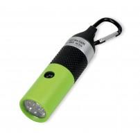 Lampe de poche LED porte-clé verte, piles incluses, boite carton