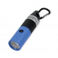 Lampe de poche LED porte-clé bleue, piles incluses, boite carton