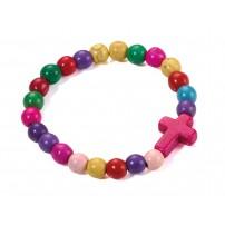 Bracelet perles multicolores et croix rose