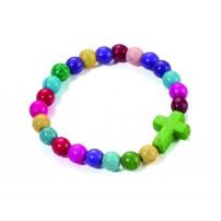 Bracelet perles multicolores et croix verte