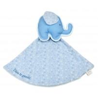 """Doudou éléphant bleu """"Dieu te garde"""""""