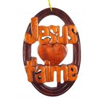 Décoration en bois ovale JESUS T'AIME