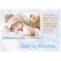 CARNET HE : Bébé qui dort avec un bonnet et une peluche
