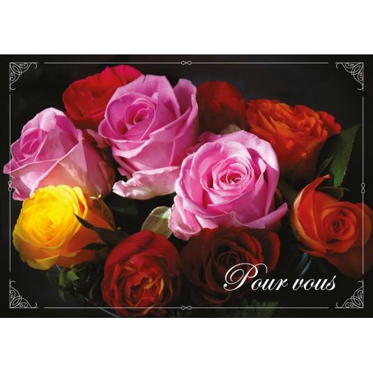 Carte Double Bouquet de roses de couleurs variées