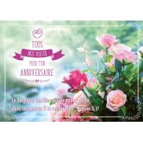 CARNET HA : Bouquet de roses sur fond flou