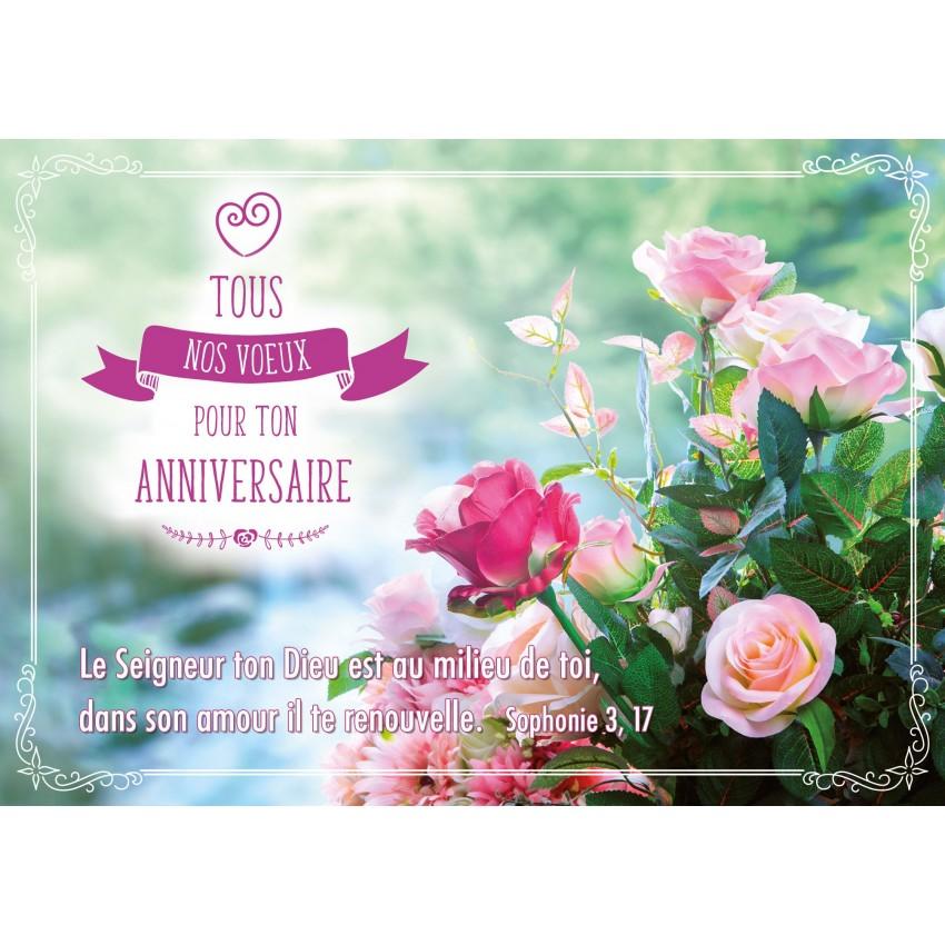 Carte Anniversaire Bouquet De Roses.Carte Double Anniversaire Bouquet De Roses Sur Fond Flou