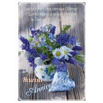 CARNET HA : Bouquet de fleurs bleues et blanches et coeur en tissu