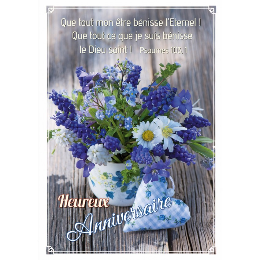 Carte double anniversaire bouquet fleurs bleues et - Bouquet de fleur en coeur ...