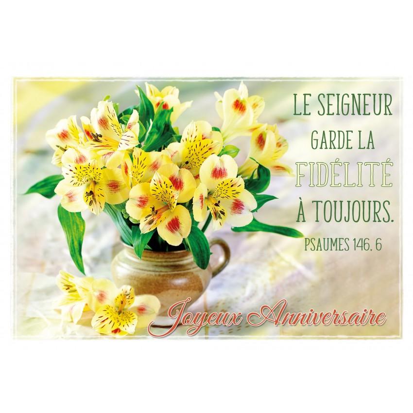 Carte Double Anniversaire Bouquet De Fleurs Jaunes Dans Un