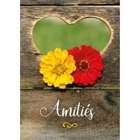 MINI CARTE : Fleurs jaune et rouge dans un coeur découpé dans le bois
