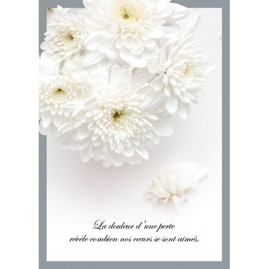 Carte Avec Message Bouquet de fleurs blanches