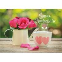 CARTE FLASH : Roses roses dans une théière et tasse avec des coeurs(JA)