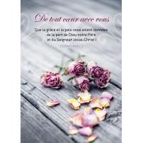 CARTE VB : Roses fanées sur une table en bois