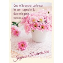 CARTE VB : Bouquet de fleurs roses sur une table