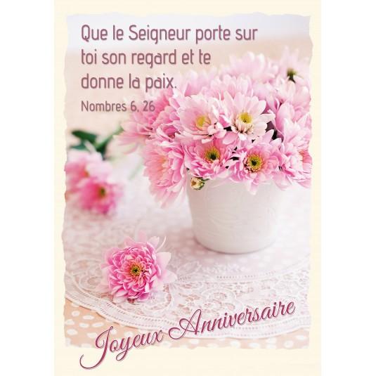 Carte Avec Verset Bouquet De Fleurs Roses Sur Une Table
