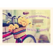 CARTE VB : Vélo avec un panier de fleurs jaunes