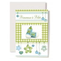 CARNET HE : Baskets bleues et blanches,cadre vichy vert