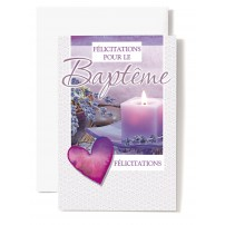 CARNET Baptême : Coeur violet,bougie,lavandes
