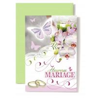 CARNET HM : Papillon rose et blanc,orchidées