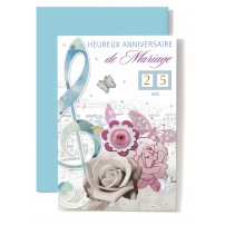 CARNET HAM : Clé de sol bleue,papillon rose,roses blanche et rose